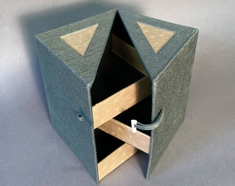 Unique Handmade 3 Drawer Folding Cube Jewelry Box. Made To Order