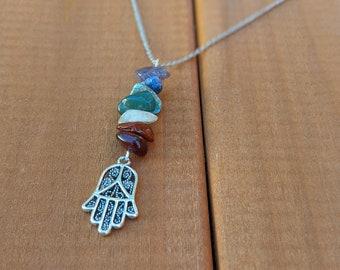 Hamsa-hamsa necklace-gold Hamsa choker-Antique hamsa Charm-Palm Charm-lucky charm necklace-Kabbalah Necklace-Protective Gift-gift for teens