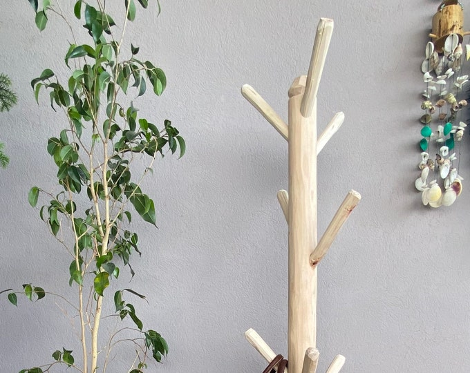 Eucalyptus wood coat rack