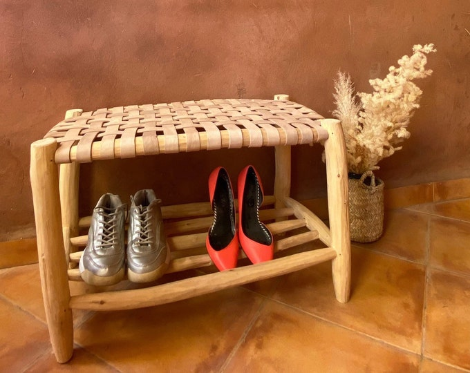 Moroccan wooden bench