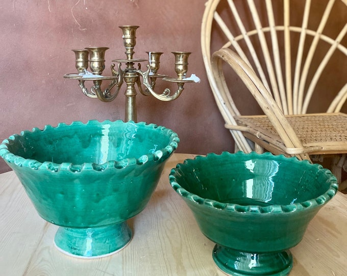 Duo of ceramic bowls style tamegroute, Moroccan Pottery, ceramics and pottery, handmade