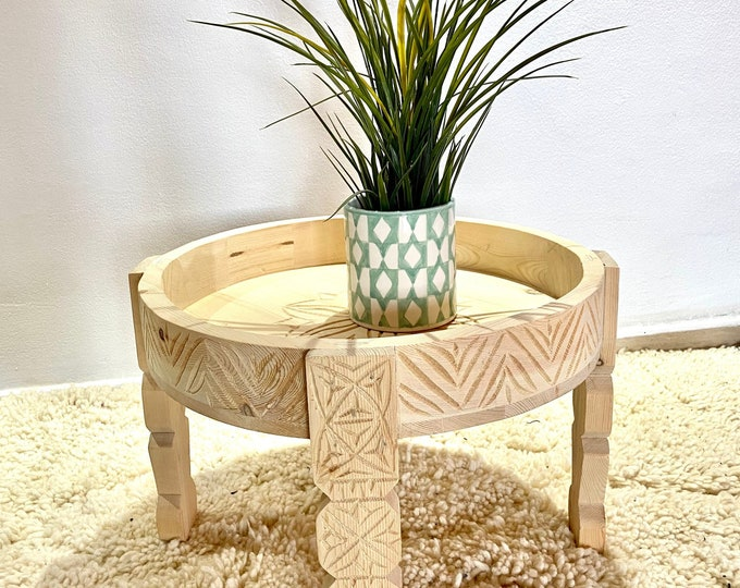 Moroccan Round Table, Berber Wooden Coffee Table