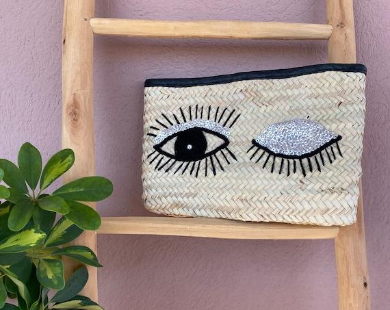 Boho pouch, wink. Mini bag, handbag, Marrakech wicker pouch