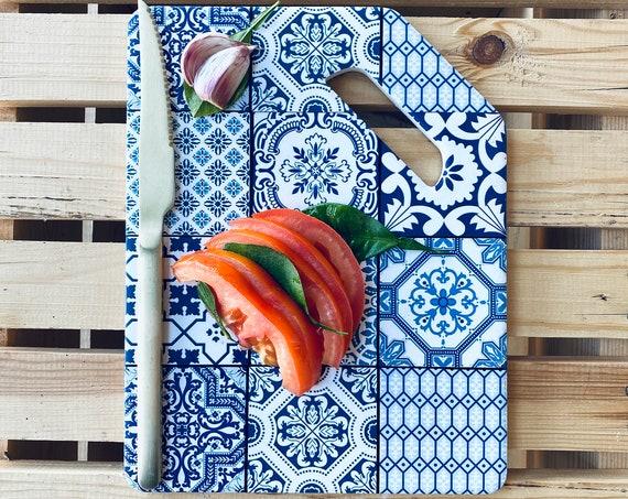 Ceramic cutting board, zellige pattern. Rectangular cutting board, kitchen cutting board, cutting board decoration