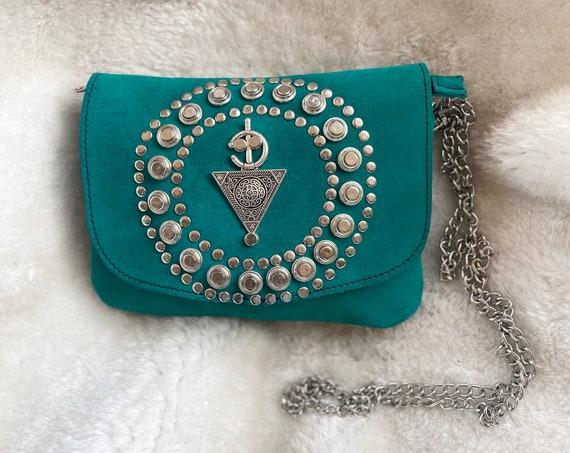 Boho evening bag, suede handbag, clutch, Berber pattern bag, Morocco bag, western purse, boho clutch, suede pouch with silver motif