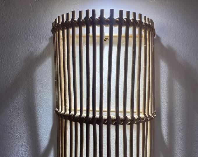 Braided rattan wall lamp, rattan wall light fixture