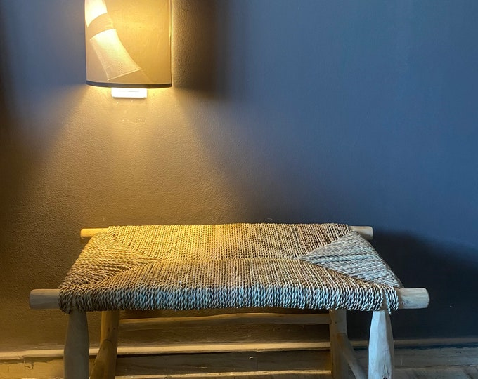 Solid wood bench and natural rope