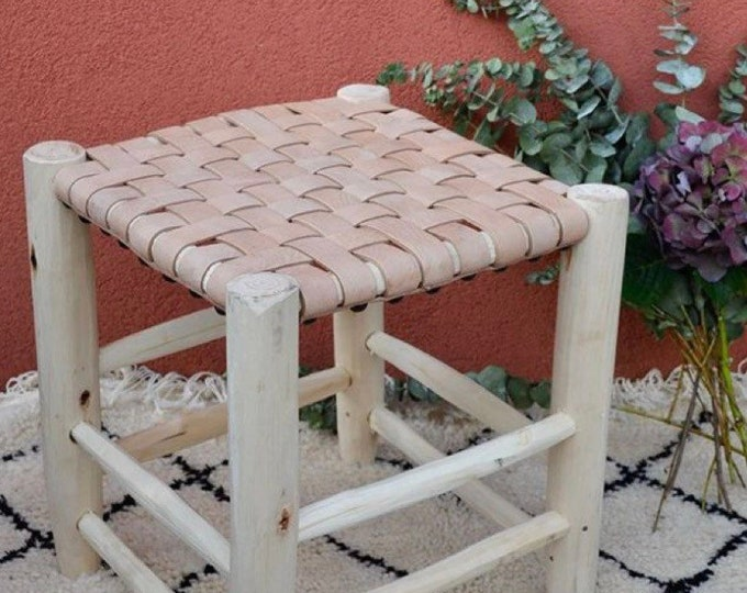 Beldi stool in wood and leather nude and braided, Moroccan stool