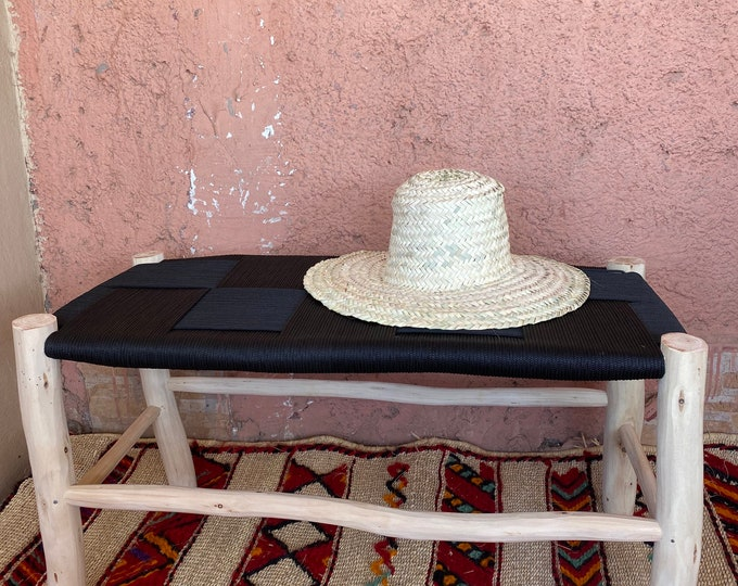 Moroccan beldi bench woven in black or white. Moroccan wooden bench rattan bench