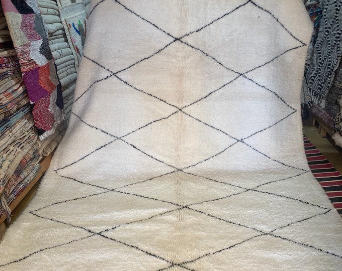 Berber carpet Beni Ouarain, 100% wool carpet, black and white carpet with geometric patterns Authentic Beni Ouarain Berber White Carpet