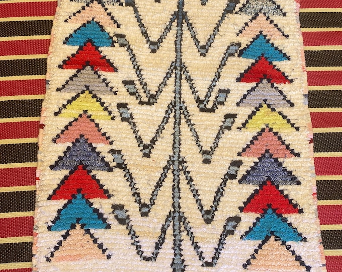 Berber carpet Blessed orarain with tribal drawing Azilal