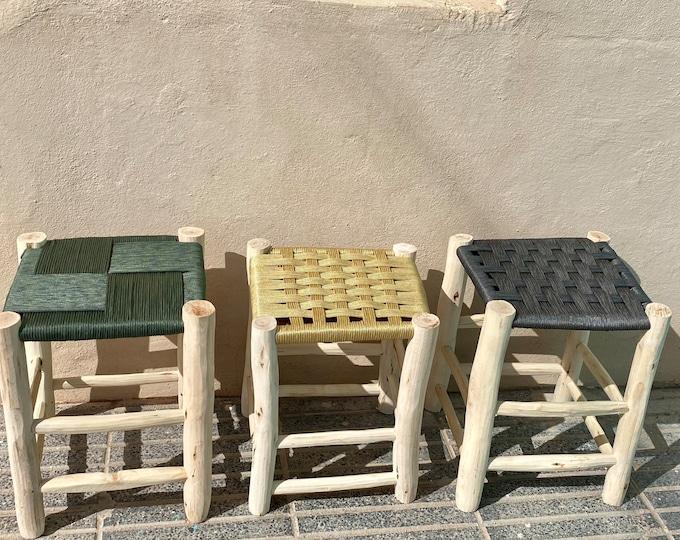 Beldi stool braided in nylon thread, Moroccan stool, Moroccan handmade chair, straw woven bench, handmade chair