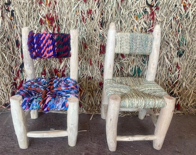 Beldi children's stool, Moroccan stool for children. Tabouret with Moroccan folder,Moroccan wood stool kids, handmade, 100% natural