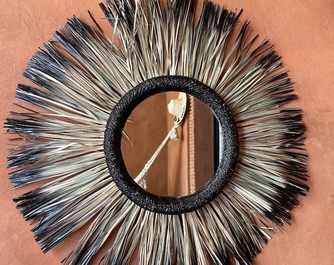 Large Moroccan round raphia mirror, round macrame mirror