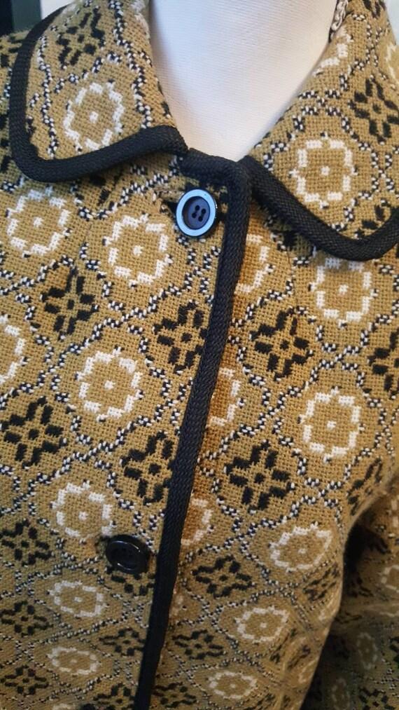Welsh Tapestry Coat, Mustard 1960s Wool Coat, Wels