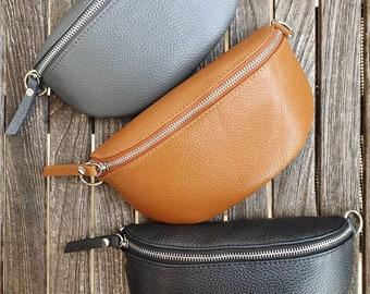 Belly Bag Leather Nappa Leather Shoulder Bag Crossbody Bag Belt Bag Silver Details