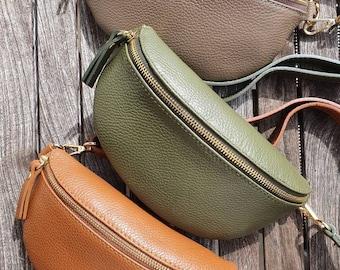 Belly Bag Leather Nappa Leather Shoulder Bag Crossbody Bag Belt Bag Golden Details