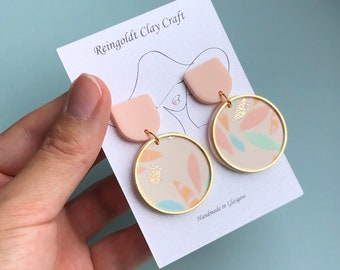 Handmade Polymer Clay Earrings with golden charms
