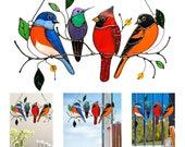Stained Birds Window Hangings Ornament, Cardinal Suncatcher Hummingbird, Acrylic Suncatcher Window Panel, Bluebird Art, birds on a wire