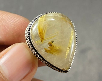 Rutile Ring,AAA Quality Ring,925 Silver Ring,Rutile Silver Ring,Handmade Ring,Unisex Ring,Gemstone Ring,Gold Plated Ring,Labor Day Sale