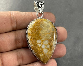 Gold Edge 24mm x 31mm Fossil Agate Beads 7683 Fossil Coral Connector Faceted Fossilized Coral Gemstone Pendant Coral Pendant
