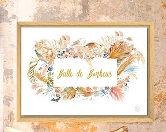 Happiness poster - boho - terracotta - dried flowers