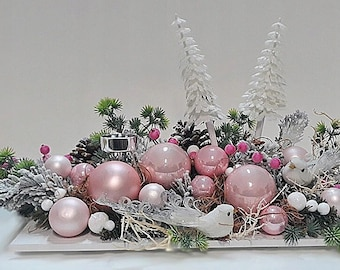 Christmas centerpiece, pink floral arrangement, pink Christmas centerpiece for table, large pink flower arrangement, pink Christmas decor,