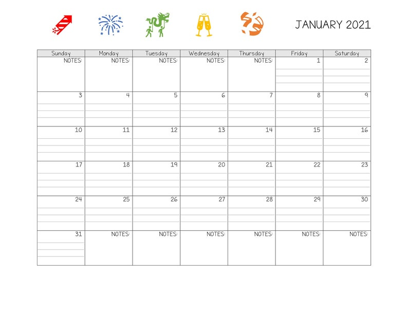 Printable/Editable Lined January 2021 Calendar | Etsy