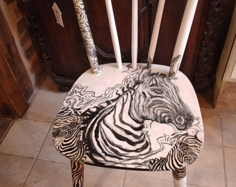 Chair hand-painted ,original ,