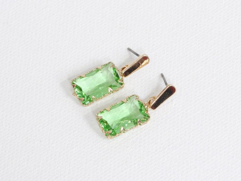 Big Metal London Despina Crystal Baguette Brass Earrings