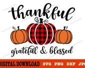 Thankful Grateful Blessed svg Fall svg Autumn svg Pumpkin svg Thanksgiving svg Svg bundle for cricut, silhouette, sublimation