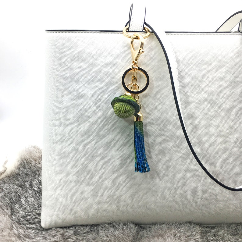 Leather bell keychain Fashion accessories Leather Tassel Christmas present Leather bag charm Anniversary gift Luxurious gift
