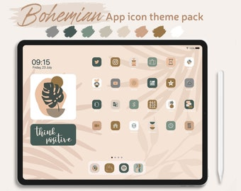 iPad Bohemian iOS 14 & iPadOS 15 App Icon Theme Pack, Beige And Cream Aesthetic Home Screen, Abstract Boho Style App Icons, iPad Wallpapers
