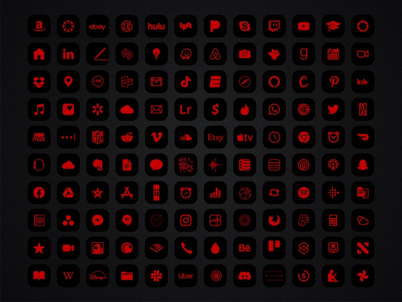 Red and Black App icons IPhone IOS 14 Theme Minimalist ...