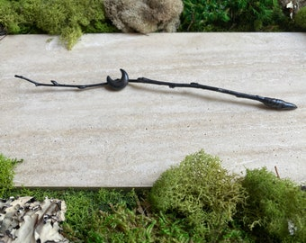 Copper Candle Scribe - Lilac Twig - Crescent Moon- Electroformed Twig - Witchcraft Tool
