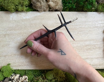 Copper Candle Scribe - Black Locust Thorn - Clear Quartz - Electroformed Twig - Witchcraft Tool