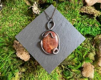 Serpent Necklace - Red Jasper Necklace - Gemstone Necklace - Copper Electroformed Necklace - Witchy Necklace