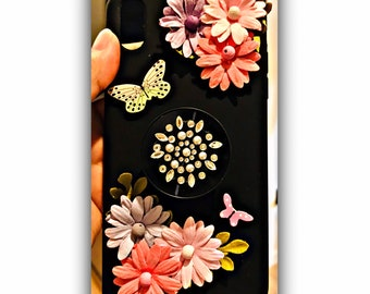 quilted mobile cover vegan woman gift canvas iphone and floral fabric black bohem flowers phone pocket