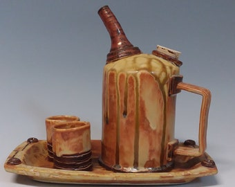 industrial mid century distressed whiskey, bourbon, tequila or sake decanter set with shot glasses and tray
