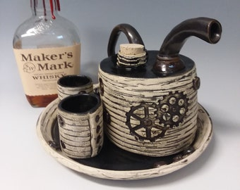 black and white steampunk bourbon tequila whiskey or sake  decanter set with tray and shot glasses