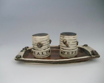 Steampunk salt and pepper set with tray