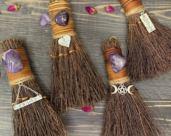"""Witchy Amethyst Altar Broom / Besom  