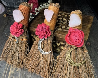Witch's Mini Besom For Self Love   Rose Quartz    Hand Painted Sola Flower   Altar Broom   Witchy Decor   Pagan   Wiccan   Choose Your Moon!