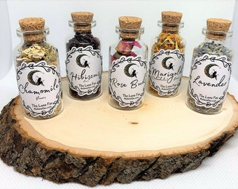 Organic Apothecary Dried Flowers | Glass Bottles w/ Cork | Witchcraft Herbs | Altar | Spell Herbs | Witch | Holistic | Spiritual