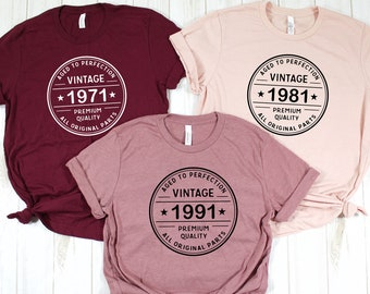 Personalized Vintage Birthday Shirt 3,Vintage 1971 Shirt-50th Birthday Shirt,Vintage 1981 Tee-40th Birthday Shirt,Vintage 1991-30th Birthday