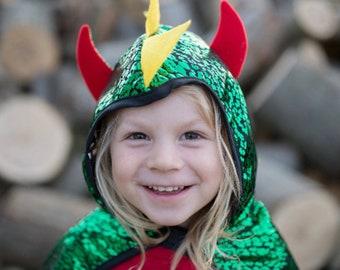 Blue or Red cape- Kid dress up-Kid costume- Natural fabric Dragon cape Green Neutral cape- super hero cape Cape