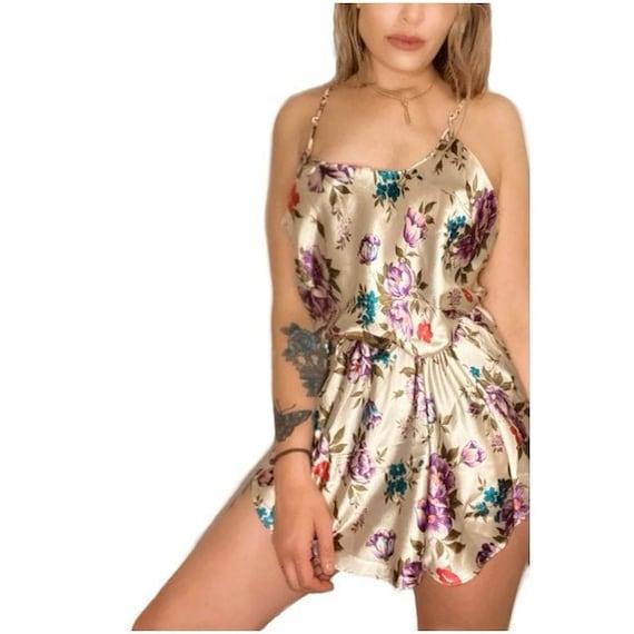 VTG 90s Floral Silky Slip Cami Slip Dress - image 1