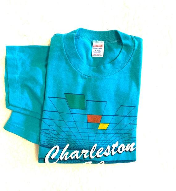 VTG 80s Charleston South Carolina Teal Tee/Amazin… - image 4