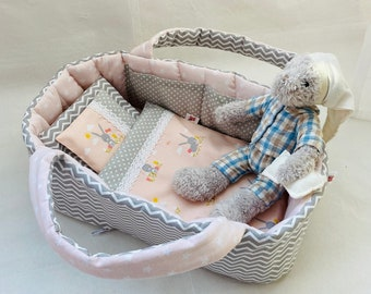 Doll Pink - Gray Carrier Bag, Doll Bed With Bedding, Doll Clothes Size 35 - 53 cm, Baby Crib, Mini Toy Handmade Cradle, Bunnies / Zigzag