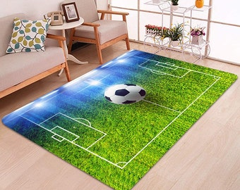 Football Soccer Pitch Rug Boys Kids Play Flooring Carpets Bedroom Mats Soft Pad